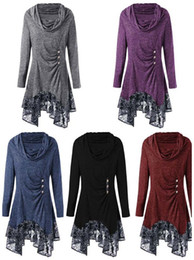 Wholesale british plus size clothing online – Women s lace irregular dress cotton long sleeve with button elegent Autumn clothing British Style plus size S XL