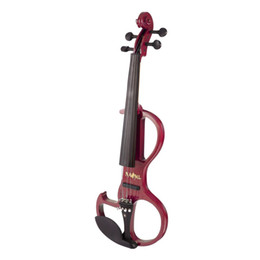 China Full Size 4 4 Solid Wood Electric Silent Violin with Ebony Fittings Fiddle Maple Fingerboard Pegs Chin Rest Tailpiece for Gift cheap basswood ebony fingerboard suppliers