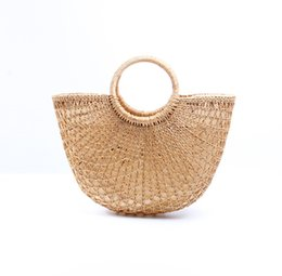$enCountryForm.capitalKeyWord UK - Women fashion beach bags new Boho Chic Handmade Braided Woven Straw beach Handbag Portable yellow hollow Summer Bohemian holiday seaside Bag