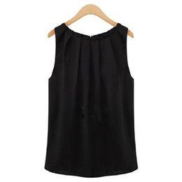 China Women Tops And Blouse 2018 New Fashion Solid Color Sleeveless O Neck Chiffon Shirt Korean Cheap Free Shipping Vestidos HJY1006 cheap cheap black blouses suppliers