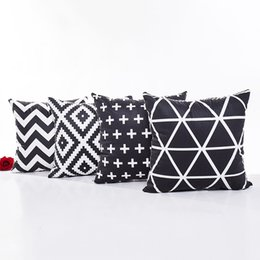 triangle pillow cases UK - Black and White Geometric Cushion Cover Wavy Stripe Cross Triangles Soft Pillow Cover 4 Styles Pillow Cases Bedroom Sofa Decoration