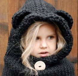 8ddd61b65ce Hat Autumn Baby Girls Boys Winter Warm Cute Bear Bebe Kids Knitted Scarf  and Cap Button Decorate Girls Clothing Set Wholesale
