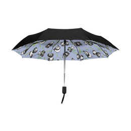 $enCountryForm.capitalKeyWord NZ - Outer Black Coating Umbrella Cute Cartoon Panda Expression Print Anti UV Lightweight Parasol Elegant Folding Rain Sun Umbrella