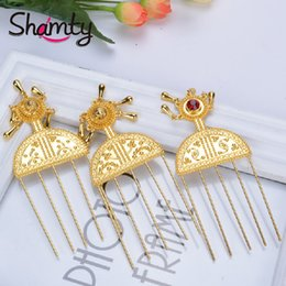 $enCountryForm.capitalKeyWord Australia - Shamty Hair Sticks Pure Gold Color Ethiopian Jewelry African Hair Combs Nigeria Eritrea Kenya Habasha Style S918