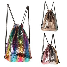 Wholesale New colorful Mermaid sequins sports bag children sparkle drawstring backpack kids shoulder bags man women sports shoulder bag