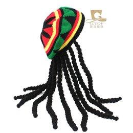 Fancy Dress Party Costume Hippie beret Dreadlocks Wig jamaican rasta knit  hat Bob Marley Caribbean Fancy Dress Prop 3467b6c7220