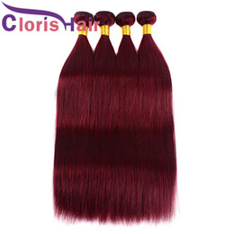Discount cheveux human hair Selected Silky Straight Wine Red Human Hair Bundles Peruvian Virgin Weave 3pcs Pure 99J Burgundy Straight Colored Hair Extensions de cheveux