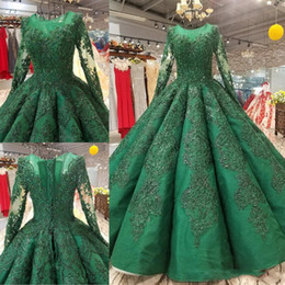 Heavy Red Evening Gowns NZ - Dark Green Heavy Beading Prom Dresses Sheer Neck Long Sleeves Evening Gowns Lace Appliques Sequined Beaded Arabic Formal Party Dress