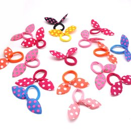 Kids Elastic Hair Rope NZ - 10pcs lot Cute Ears Elastic Hair Bands Kids Polka Dot Hair Band Scrunchies Rubber Band Rope Headdress Accessories for Girls