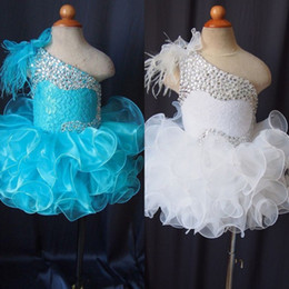 $enCountryForm.capitalKeyWord NZ - Lovely 2018 Toddler Pageant Dresses Sexy One Shoulder Strap Shiny Silver Rhinestones Bodice Ruffles Skirt White Ice Blue Kids Prom Dresses