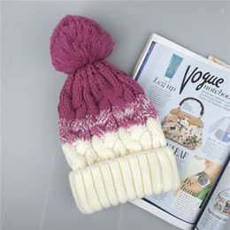 Discount bobble hats men - Women Winter Beanie Hat Wool Knitted Ladies Fashion Large Pom Pom Bobble Ski Hat