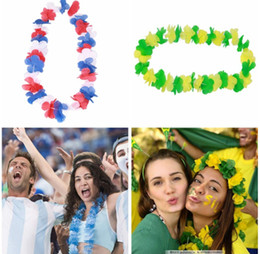 world cup toys NZ - New Russia 2018 World Cup Artificial Flower Wreaths Garland Flower Necklace Football Fans Cheer Party Decoration toy 105cm GGA146 100pcs