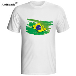 brazil flags NZ - Antidazzle New fashion summer Brazil flag stylized printing logo t shirt 100 cotton O-Neck Short Sleeve T-shirt High t shirts