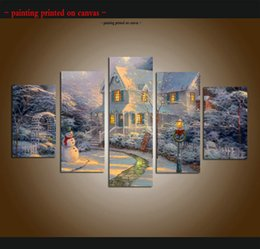 $enCountryForm.capitalKeyWord Canada - Large 5 Piece Thomas Kinkade Landscape Oil Painting Reproduction Snow scene Giclee Print Canvas Modern Art wall for living room Home Decor