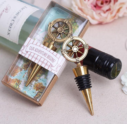 wine stopper favors for wedding NZ - Golden Compass Wine Stopper Wedding Favors And Gifts Wine Bottle Opener Bar Tools Souvenirs For Party Easter SN063