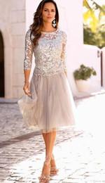 Dos corta Madre piezas del novio de la novia vestidos de encaje de tul longitud de la rodilla 3/4 mangas largas de noche vestidos de baile en venta