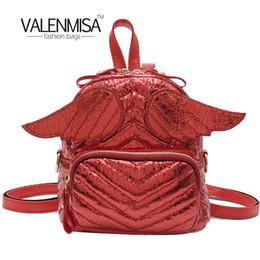 6755f138528749 Frauen-Rucksack-Flügel-Rucksack-nette Schultaschen-Reißverschluss-kleine  Sack-Taschen Art- und Weisebeiläufiger Minirucksack-Frauen-rotes Leder-Rückseiten-  ...