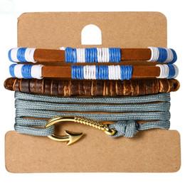 $enCountryForm.capitalKeyWord Canada - Unisex Hand-made Multi-layer Wood Beads Gold Tone Fish Hook Cross Elastic Rope Set Bracelet