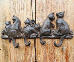 Garage Tool Hangers NZ - 4 Pieces Cast Iron Decorative 6 Cats Coat Rack with 4 Hooks Key Hanger Holder Home Garden Wall Decoration Porch Cabin Vintage Rustic Brown