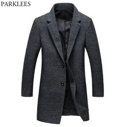 $enCountryForm.capitalKeyWord NZ - Men's Gray Long Trench Coat 2018 Brand New Winter Peacoat Jacket Men Casual Slim Wool Cashmere Coat Windbreaker Manteau Homme