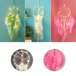 Wholesale LED Dream Catcher Car Hanging Decor Indoor Feathers Dreamcatchers Home Wedding Decoration Innovative kids Gift LED Night Light