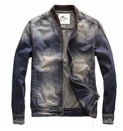 Discount high neck motorcycle jacket fashion - Top Fashion Brand Designer Men's Casual Collarless Denim Baseball Jacket Vintage Motorcycle Biker Jackets Coats Hig