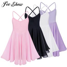 leather tutu 2019 - FEESHOW Kids Girls Chiffon Ballet Dress Gymnastic Leotard One-piece Leotards Ballet Dress Sleeveless Tutu Dancewear chea