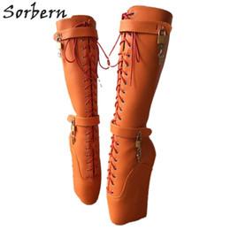 a935a780d19 Beginner Quan Hoof Heelless Mid Calf Boots Women Plus Size Sexy Fetish Shoe  Pinup Ballet Lockable Wedge Boot Orange Matt