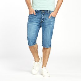 13ced7332cb Mens Summer Stretch Lightweight Thin Denim Jeans Short For Men Jean Shorts  Pants Plus Size 32 33 34 35 36 38 40 42