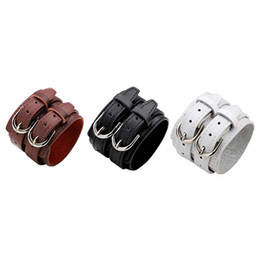 $enCountryForm.capitalKeyWord UK - Double Belt Leather Vintage Punk Jewelry Big Wide Bracelet for Men Buckle