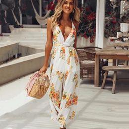 $enCountryForm.capitalKeyWord NZ - wholesale Sexy strap ruffle chiffon jumpsuit women Cold shoulder wide leg jumsuit print 2018 Summer beach playsuits lady casual overalls