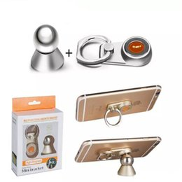 Strong Tablets NZ - 360 Rotating 2 in 1 Metal Finger Ring phone Stand Universal Strong Magnetic Magnet Holder for iphone samsung smart phone tablet pc