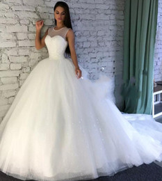 Sexy Sparkle princeSS wedding dreSS online shopping - Sparkling Wedding Dresses With Sheer Jewel Neckline Sequins A Line Wedding Dress With Count Train Custom Made Bridal Gowns Plus Size