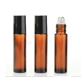 Discount amber glass bottles screw - AMBER Glass Roll On Bottle 10ml (1 3oz) Essential Oil Empty Aromatherapy Perfume Bottle metal Roller Ball Wholesale 200p
