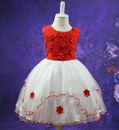 baby girl dresses flower printed NZ - Kids Girls Flower Dress Baby Girl Butterfly Birthday Party Dresses Children Fancy Princess Ball Gown Wedding Clothes
