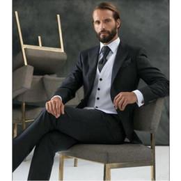 $enCountryForm.capitalKeyWord Canada - New Classic Black lapel Groom Tuxedos Mens Suits 3 Pieces(Jacket+Pants+Vest+Tie) One Buon Formal Prom Latest Design 300