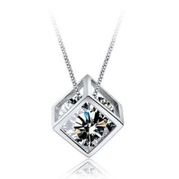 16 Box Chain Australia - Love Magic Cube Pendant Necklace 30% Silver Box Chain Square Shape AAA Zircon Crystal Pendant With 16 18 20inch Chain Women Jewelry Gift