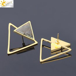 Natural Gold 18k NZ - CSJA Women Triangle Stud Earrings Detachable Natural Stone Earring Gold Bezel Setting Fashion Punk Geometric Gem Jewellery Wholesale S226