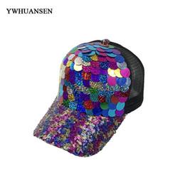 YWHUANSEN 2018 NEW Caps Sequins Paillette Bling Shinning Mesh Baseball Cap  Striking Pretty Adjustable Women Girls Snapback Hats 8edfded48a5b