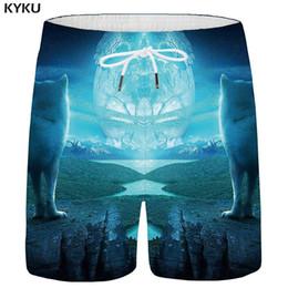 $enCountryForm.capitalKeyWord Australia - KYKU Wolf Shorts Men Moon Cargo Short Pants Animal Forest 3d Printed shorts Casual Blue Hip hop Mens Summer High Quality