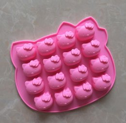 Discount chocolate panning - Hello kitty silicone Chocolate mold microwave oven pan cake Molds jelly candy mould Silicon soap 3D bakeware ice cream d