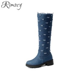 denim blue ladies shoes 2018 - Rimocy Women Denim Knee High Boots Square Med Heels Winter Shoes Woman Round Toe Side Zipper Blue Ladies Snow Boots Size