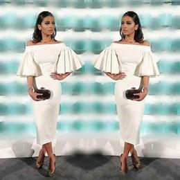 1d7a6118745 Off shOulder elegant knee high dresses online shopping - Tea Length white  Cocktail Dresses Sheath elegant