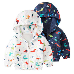 boys dinosaur jacket Canada - Baby Boys Jackets Spring Children Clothing Outwear Dinosaur Baby Outerwear Active Hooded 2-8Y Boys Girl Outerwear Jacket