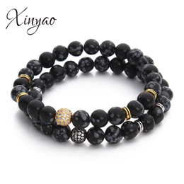 XINYAO 8mm Natural Stone Alabaster Beads Bracelet For Men Black Color Crystal Ball Charm Bracelets Jewelry Gifts