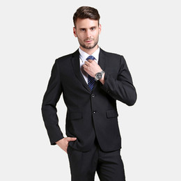 bridegroom custom jacket UK - Handsome 2018 Black Men Suits Skinny Wedding Suits Custom Made Bridegroom Business Slim Fit Formal Tuxedos 2Piece Blazer Prom Jacket+Pants