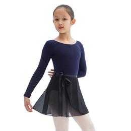 Discount cheap black costume dresses - Ballet Skirt For Girls High Quality Black Color Leotard Chiffon Dancing Wear Practice Costume Cheap Children Dance Dress