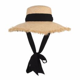 China Handmade Weave Raffia Sun Hats For Women Black Ribbon Lace Up Large Brim Straw Hat Outdoor Beach Summer Caps Chapeu Feminino cheap large brim summer hats suppliers