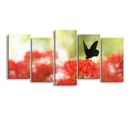 Digital Prints Canvas Australia - 5 pieces high-definition print butterfly canvas painting poster and wall art living room picture B-092