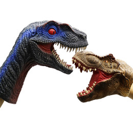 puppets UK - 2pcs dinosaur hand puppet Fun 2 Learn wholesale animal toys Tyrannosaurus rex and Velociraptor simulation interactive toy for kid